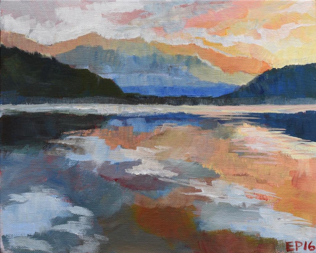 Lake Wanaka sunset in orange New Zealand