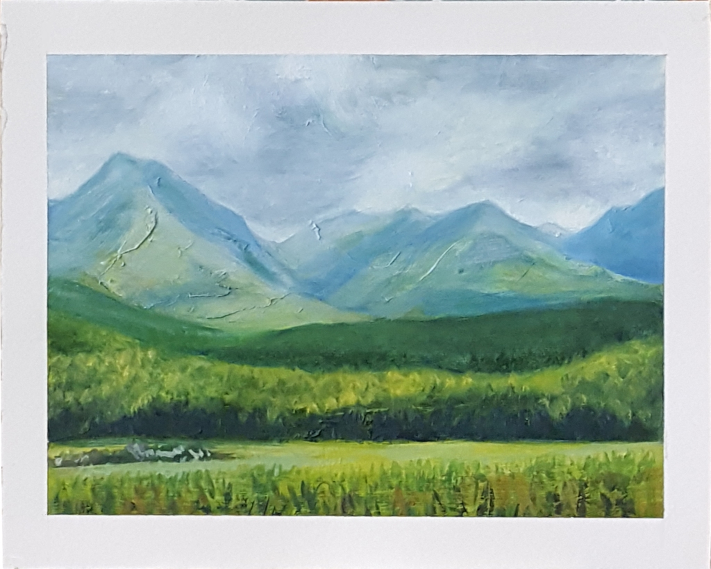 """""""South Island Mountains"""", oil on paper, 8"""" x 10"""", 2021."""
